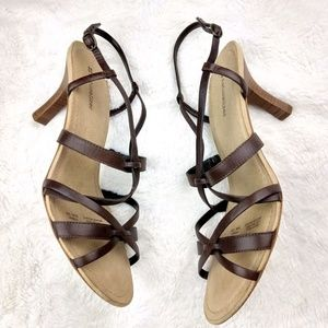NWT Naturalizer Leather Brown Stiletto Sandals